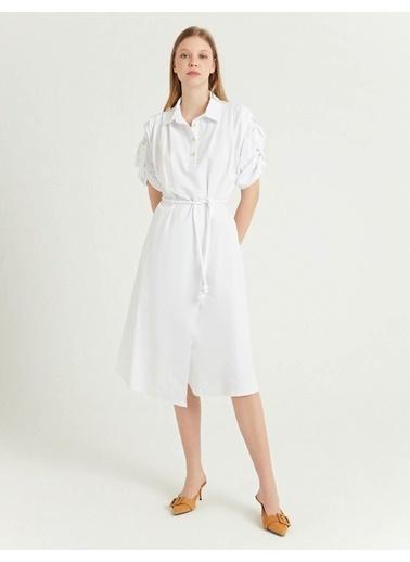 BGN Beyaz - Halat Kemerli Gömlek Elbise Beyaz